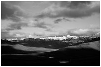 Alaska Range and clouds from Polychrome Pass, evening. Denali National Park, Alaska, USA. (black and white)