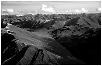 Aerial view of mountains. Gates of the Arctic National Park, Alaska, USA. (black and white)