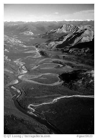 Aerial view of meanders of Alatna river and valley. Gates of the Arctic National Park (black and white)
