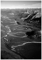 Aerial view of meanders of Alatna river and valley. Gates of the Arctic National Park, Alaska, USA. (black and white)