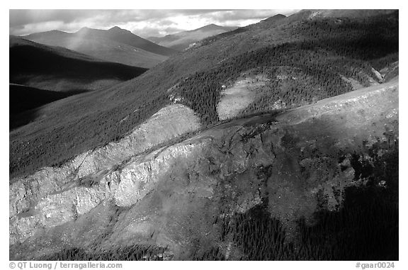 Aerial view of cliff and mountain side. Gates of the Arctic National Park (black and white)