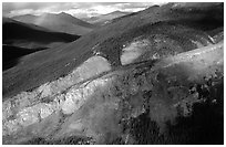 Aerial view of cliff and mountain side. Gates of the Arctic National Park, Alaska, USA. (black and white)