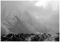 Fresh snow dusts the Arrigetch Peaks. Gates of the Arctic National Park ( black and white)