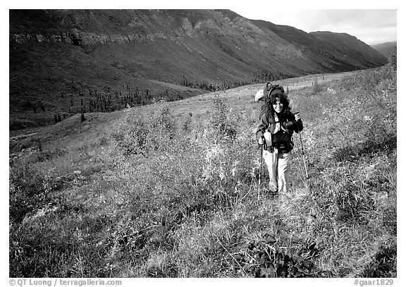 Backpacker in Arrigetch Creek. Gates of the Arctic National Park, Alaska