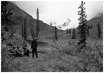 Backpackers camp in Arrigetch Valley. Gates of the Arctic National Park, Alaska (black and white)