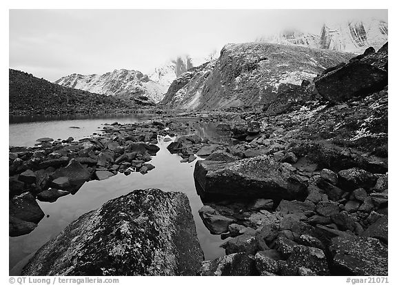 Arrigetch peaks above pond in Aquarius Valley. Gates of the Arctic National Park (black and white)