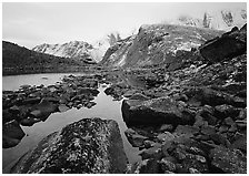 Arrigetch peaks above pond in Aquarius Valley. Gates of the Arctic National Park ( black and white)