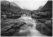 Stream and Arrigetch Peaks. Gates of the Arctic National Park, Alaska, USA. (black and white)