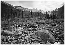 Arrigetch Creek and Peaks. Gates of the Arctic National Park, Alaska, USA. (black and white)