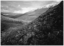 Arrigetch Valley. Gates of the Arctic National Park, Alaska, USA. (black and white)