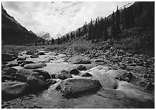 River flowing over boulders, Arrigetch Creek. Gates of the Arctic National Park, Alaska, USA. (black and white)