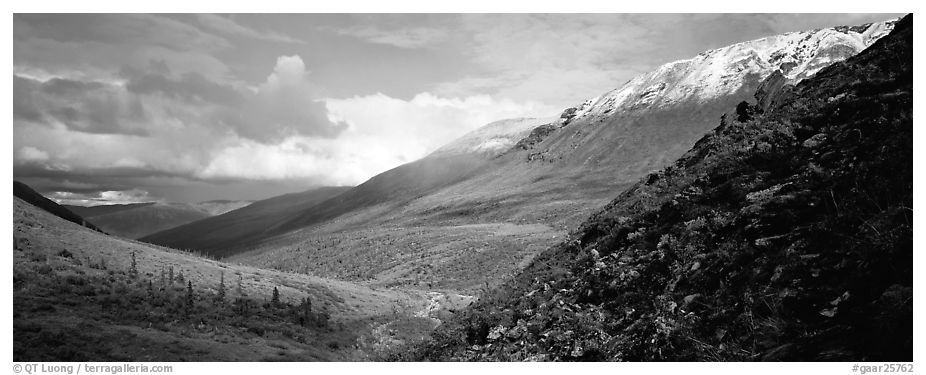 Mountain valley. Gates of the Arctic National Park (black and white)