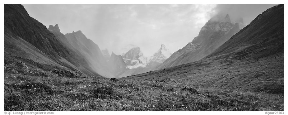 Jagged peaks of the Brooks range. Gates of the Arctic National Park (black and white)