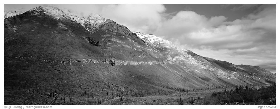 Brooks range peaks with fresh snow in autumn. Gates of the Arctic National Park (black and white)