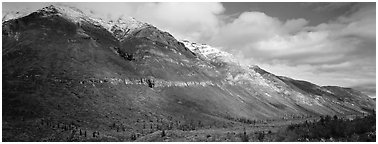 Brooks range peaks with fresh snow in autumn. Gates of the Arctic National Park (Panoramic black and white)