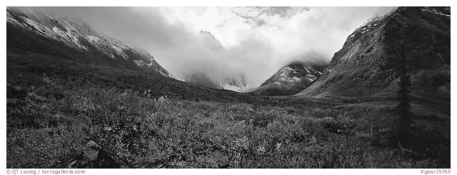 Brooks range landscape in the fall. Gates of the Arctic National Park (black and white)