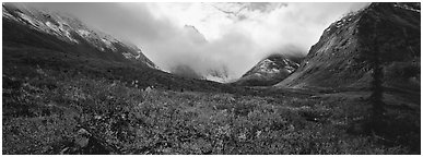 Brooks range landscape in the fall. Gates of the Arctic National Park (Panoramic black and white)