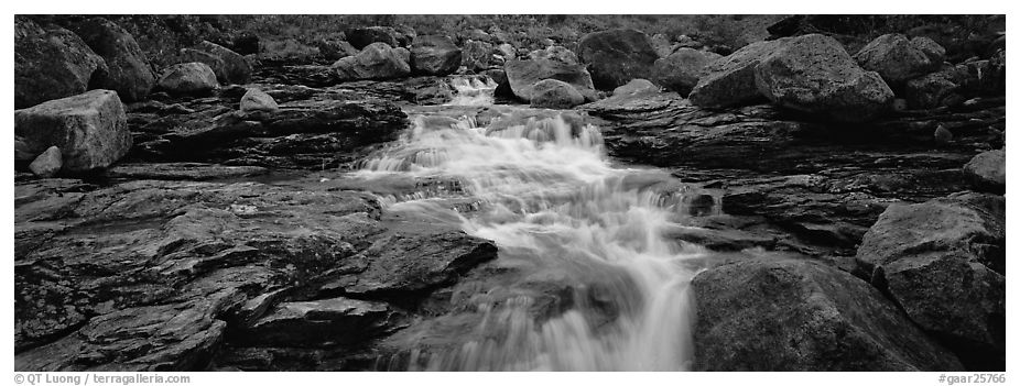 Stream, granite slabs, and boulders. Gates of the Arctic National Park (black and white)
