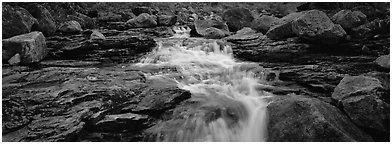 Stream, granite slabs, and boulders. Gates of the Arctic National Park (Panoramic black and white)