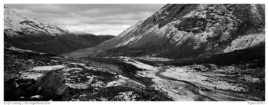 Brooks range stormy scenery with fresh snow. Gates of the Arctic National Park (black and white)