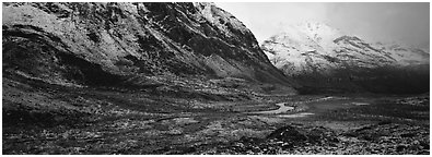 Brooks range landscape after snowstorm. Gates of the Arctic National Park (Panoramic black and white)