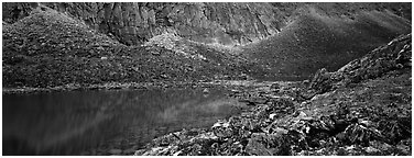 Turquoise lake and scree slopes. Gates of the Arctic National Park (Panoramic black and white)