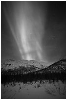 Northern lights over Brooks Range. Gates of the Arctic National Park, Alaska, USA. (black and white)
