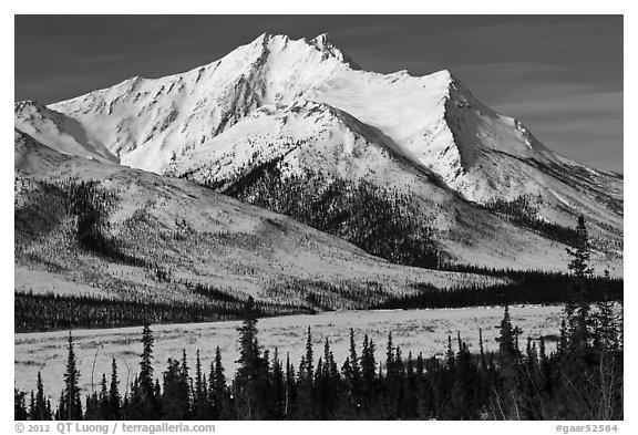 Brooks Range mountains in winter. Gates of the Arctic National Park (black and white)
