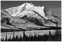 Brooks Range mountains in winter. Gates of the Arctic National Park, Alaska, USA. (black and white)