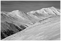 Brooks Range near Aitigun Pass in winter. Gates of the Arctic National Park ( black and white)