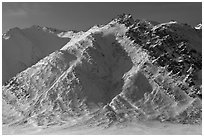 Brooks Range mountains above Artic Plain. Gates of the Arctic National Park, Alaska, USA. (black and white)