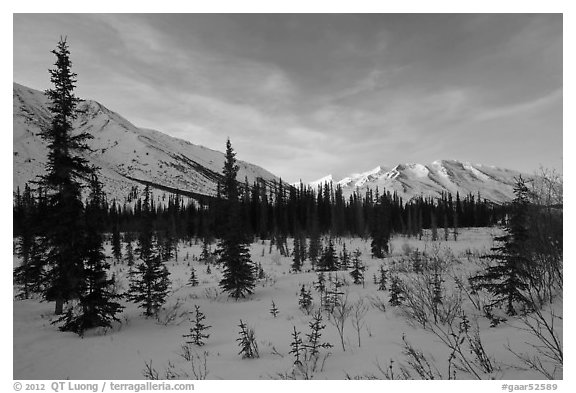 Brooks range, winter sunset. Gates of the Arctic National Park (black and white)