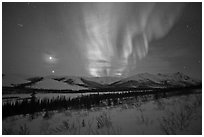 Venus, Jupiter, and Aurora. Gates of the Arctic National Park ( black and white)