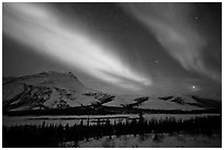 Northern lights over Brooks Range, winter. Gates of the Arctic National Park, Alaska, USA. (black and white)