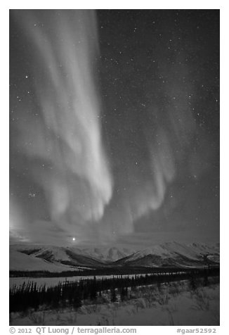 Aurora and Jupiter over Brooks Range. Gates of the Arctic National Park (black and white)