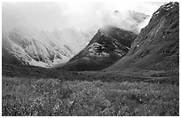Tundra and Arrigetch Peaks partly hidden by clouds. Gates of the Arctic National Park, Alaska, USA. (black and white)