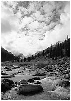 Clouds above Arrigetch Creek. Gates of the Arctic National Park, Alaska, USA. (black and white)