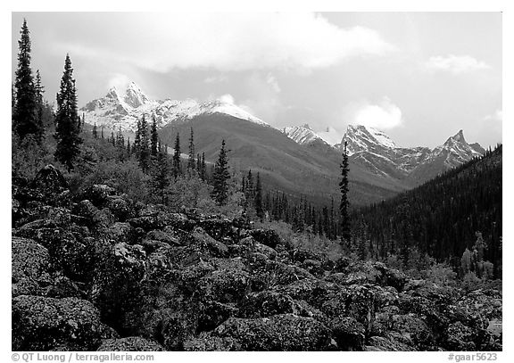 Arrigetch Peaks from boulder field in Arrigetch Creek. Gates of the Arctic National Park (black and white)