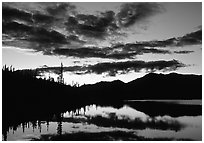 Alatna River valley near Circle Lake, sunset. Gates of the Arctic National Park, Alaska, USA. (black and white)