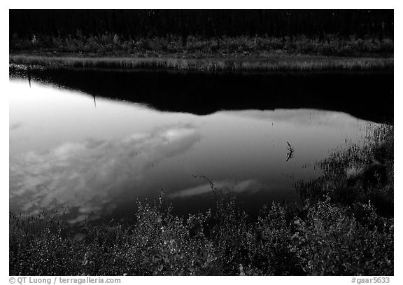 Alatna River reflections, sunset. Gates of the Arctic National Park (black and white)