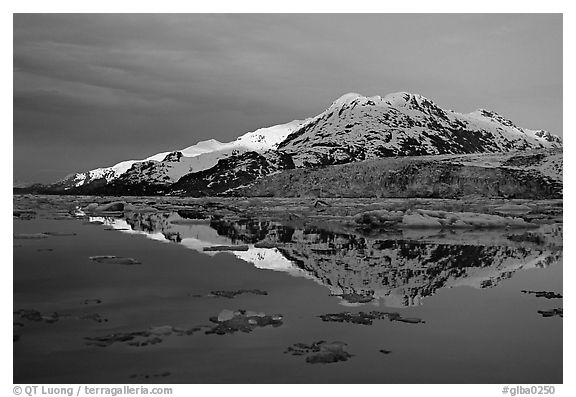 Mt Parker reflected in West arm. Glacier Bay National Park (black and white)