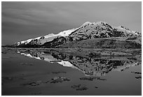 Mt Parker reflected in West arm. Glacier Bay National Park, Alaska, USA. (black and white)