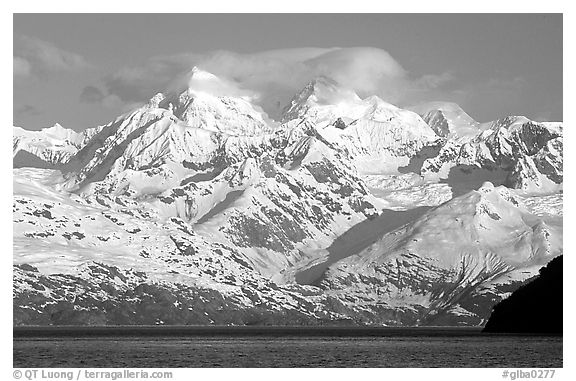 The Fairweather range, West arm. Glacier Bay National Park (black and white)