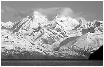 The Fairweather range, West arm. Glacier Bay National Park ( black and white)