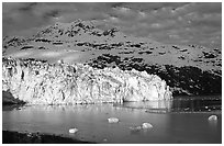 Lamplugh tidewater glacier and Mt Cooper. Glacier Bay National Park ( black and white)