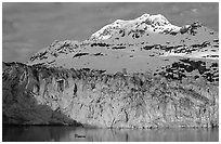Lamplugh glacier and Mt Cooper. Glacier Bay National Park ( black and white)