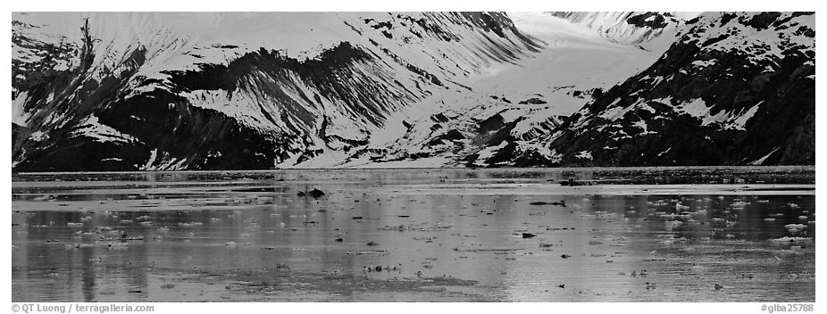 Snowy slopes reflected in ice-chocked waters. Glacier Bay National Park (black and white)