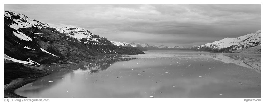 Marine scenery with snowy mountains and ice. Glacier Bay National Park (black and white)