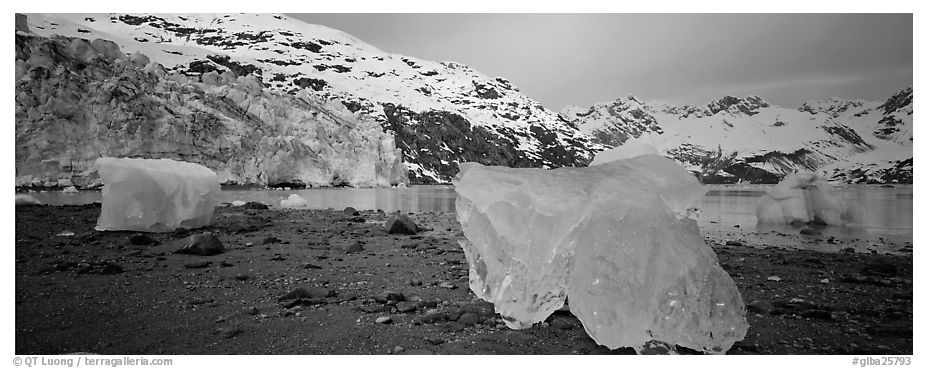 Beach iceberg and tidewater glacier front. Glacier Bay National Park (black and white)