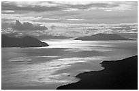 Aerial view of Glacier Bay entrance. Glacier Bay National Park, Alaska, USA. (black and white)